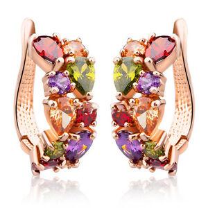 Fashion-Women-Gold-Crystal-Colorful-Rhinestone-Hoop-Huggies-Ear-Stud-Earrings