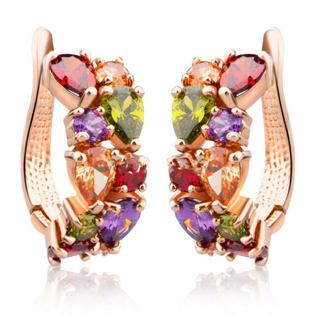 1 Pair Hot Fashion Women Lady Elegant Crystal Rhinestone Ear Stud Earrings Gift