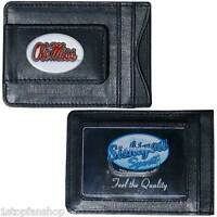Ole Miss Rebels Fine Leather Money Clip Id Card Cash Holder Wallet Football Ncaa