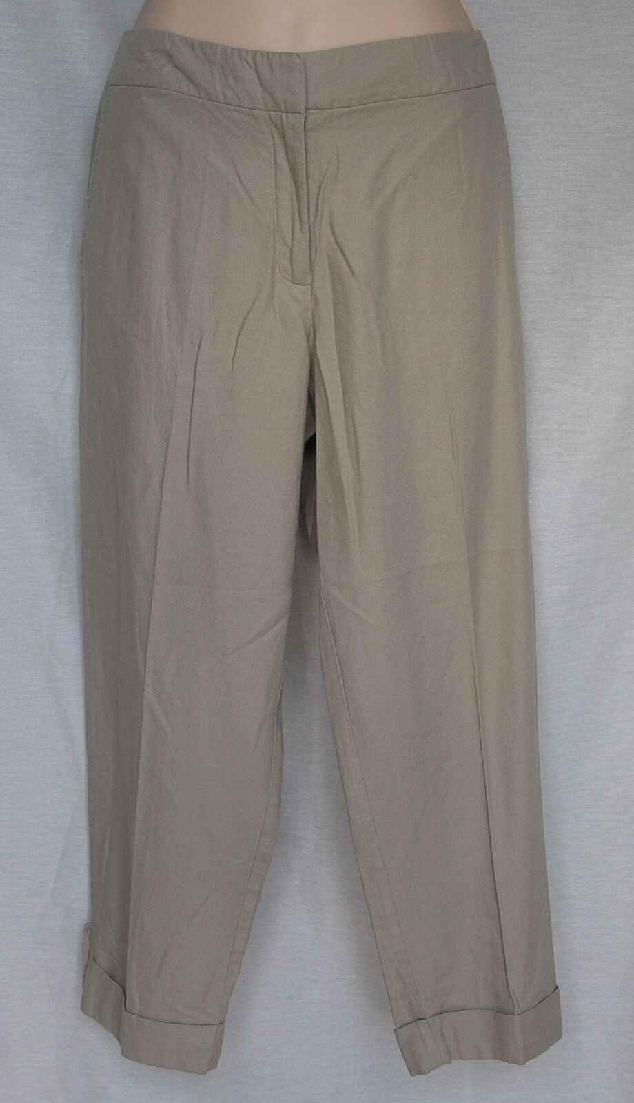 EILEEN FISHER LIGHTWEIGHT ORGANIC COTTON CANVAS CROPPED PANTS M