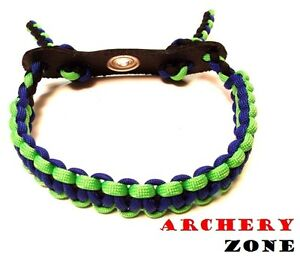 Black and Blue  Bow Paracord Wrist Sling Strap Archery W// Leather
