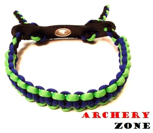 Blue and Neon Green w//  Black  Bow Paracord Wrist Sling Strap Archery W// Leather