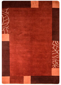 Nepal-Tapis-230x160cm-noue-a-la-main-laine-avec-soie-fibre-naturelle-ORANGE