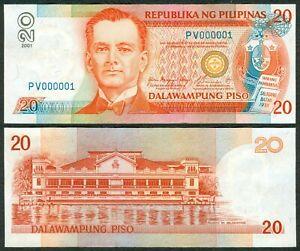 2001-NDS-20-Pesos-Arroyo-Buenaventura-BLUE-Serial-NUMBER-1-PV000001-Philippine