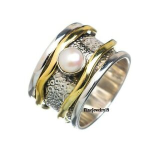 Pearl-Ring-925-Sterling-Silver-Ring-Spinner-Ring-Meditation-Ring-Jewelry-A230