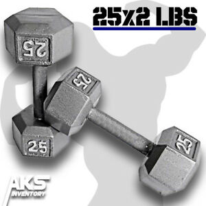 Pair-of-25-Pound-Cast-Iron-Hex-Dumbells-Home-Gym-Exercise-Workout-Free-Weights