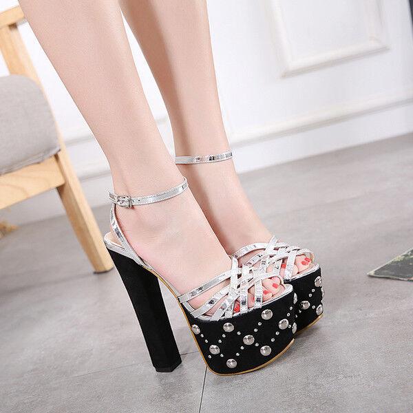 Sandali tacco quadrato 16 cm eleganti noir plateau cinturino simil pelle 9756