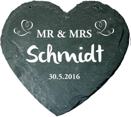 Herz aus Schiefer Hochzeit Mr Mrs Hochzeitsantrag Hochzeit Jahrestag Gravur