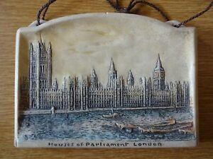 Vintage-Osborne-Ivorex-Wall-Plaque-The-Houses-of-Parliament-London