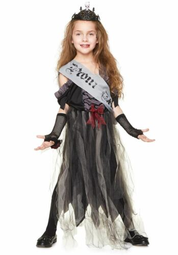 Girls Gothic Zombie Prom Queen Costume Halloween Fancy Dress Outfit