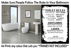 Toilet Rules Prints Wall Art Funny Poster Pictures Toilet Home Quotes A4