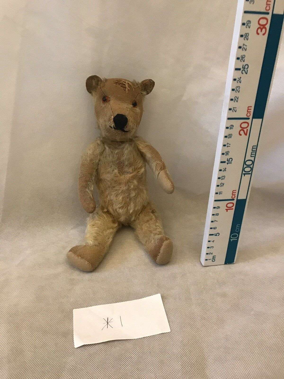 Old Straw Filled  Jointed Teddy Bear Threadbare In Places