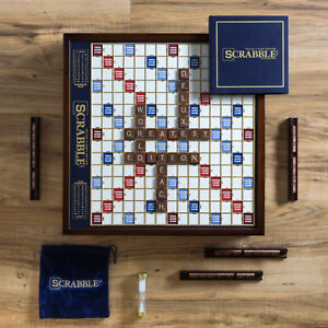 Scrabble-Deluxe-Classic-Edition-Wood-Rotating-Turntable-Board-Game-Lazy-Susan