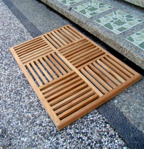 A-Grade Teak Wood Basket Weave Floor Bath Spa Shower Door Mat Outdoor Garden New
