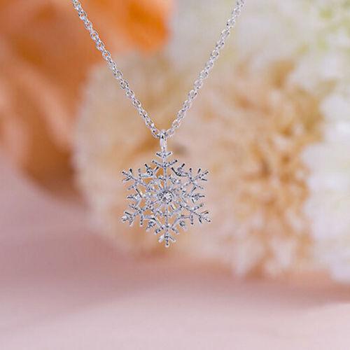 Femmes Charme Argent Gelé Flocon De Neige Cristal Collier Pendentif Chaîne Fashion Cadeau