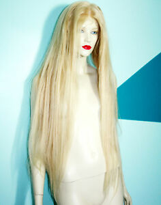 Glueless-Silk-Top-Blonde-Mix-Remi-Remy-Indian-Human-Hair-Full-Lace-Wig-Long