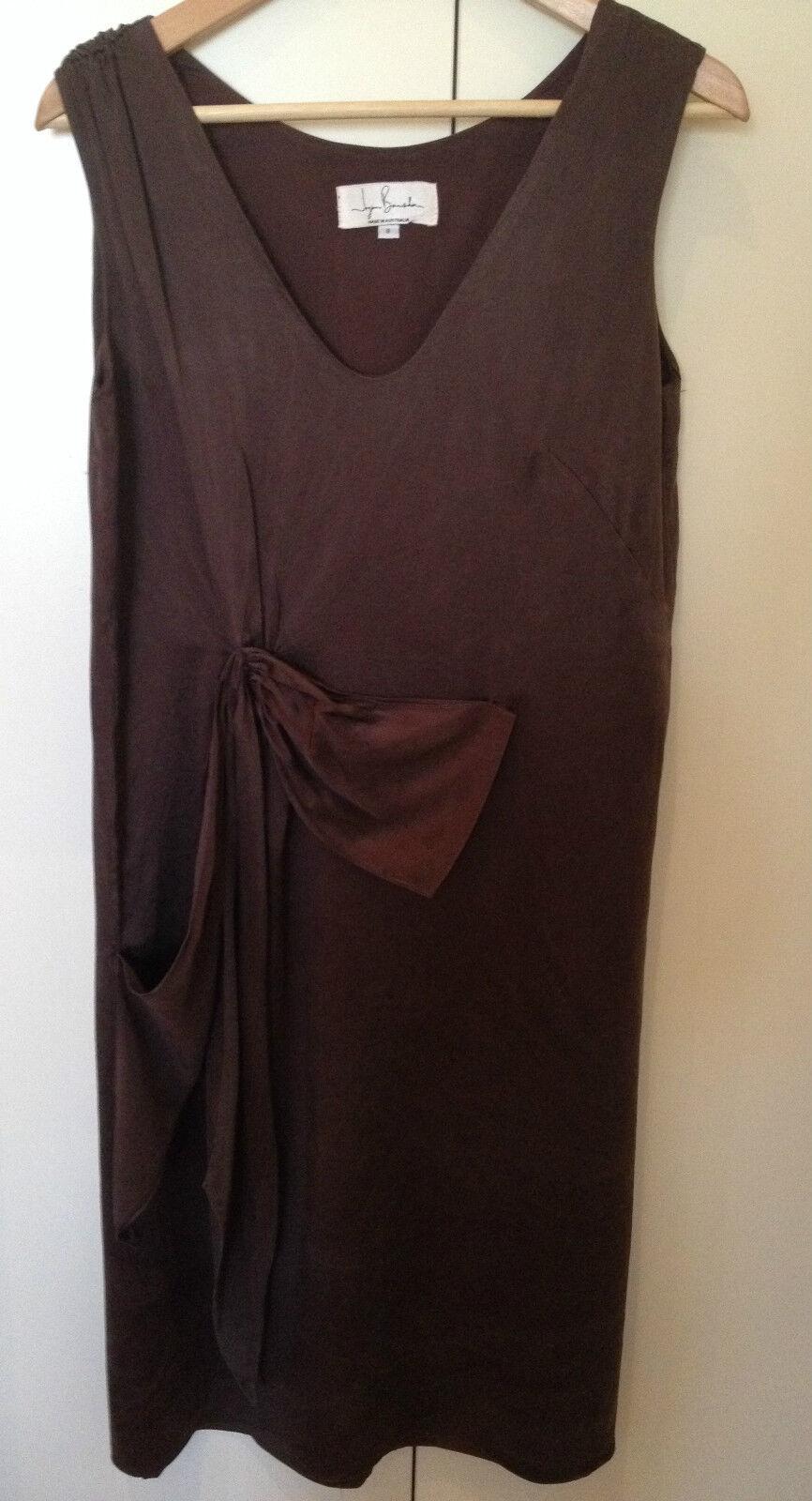 JAYSON BRUNSDON Designer Chocolate braun Silk Sleeveless Shift Cocktail Dress 8