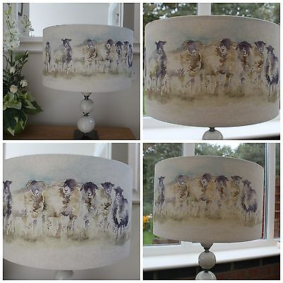 """Handmade Lampshade Country Voyage /""""Come By/""""  Sheep Spring Lambs Farm Countryside"""