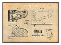 1880 Steinway Grand Piano Forte Patent Print Art Drawing Poster 18 X 24