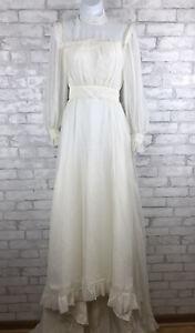 Vintage-Boho-Prairie-Wedding-Dress-Gunne-Sax-Style-White-Bustle-Train-Size-2