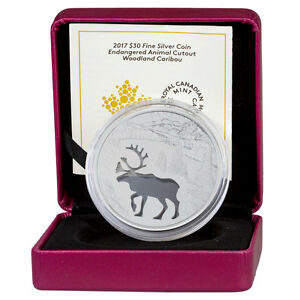 2017-Canada-Endangered-Animal-Cutout-Caribou-Silver-Proof-30-In-OGP-SKU45913