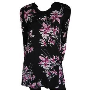 Tunic-Tops-Plus-Size-10-EVERSUN-Pink-Black-Dress-Floral-Long-Sleeve-Jumper