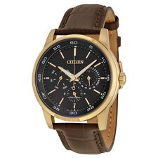 Citizen Dress Eco-Drive Black Dial Brown Leather Mens Watch BU2013-08E