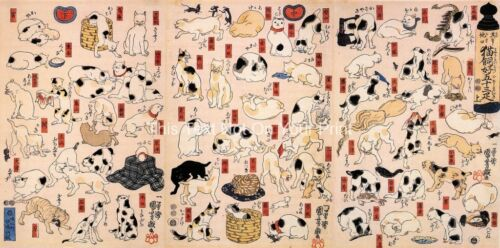3 x Japanese Cats /& Kittens Old Woodblock Prints by Kuniyoshi Picture Poster NEW