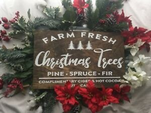 Fresh Christmas Trees.Details About Farm Fresh Christmas Trees Hand Painted Large Sign Hot Cocoa Country Farm Sign