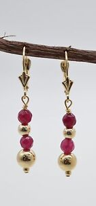 BE162-New-14K-Solid-Gold-Natural-Coral-Bead-Drop-Earrings