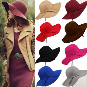 New-Stylish-Fashion-Women-039-s-Wide-Brim-Wool-Felt-Bowler-Fedora-Hat-Floppy-Sun-Cap
