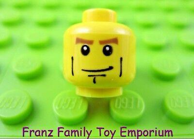 LEGO Minifigure Head YELLOW Male Thick Eyebrows Brown Crow/'s Feet Cheek Lines