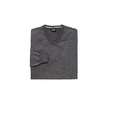 A Bank Traveler/'s Collection Merino Wool V-Neck Charcoal Sweater Size XXL Jos