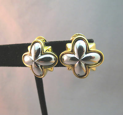 Monet Comfort Clip Earrings Gold Plated Two Tone Silver Gray Unique Luxury Clip