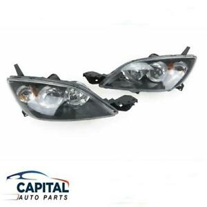 Pair of Black Headlights Left & Right suits Mazda 3 Hatchback BK 2004-2008 Hatch