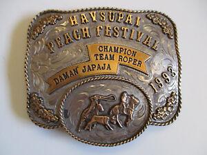 1993-Havasupai-Peach-Festival-Team-Roper-western-rodeo-championship-belt-buckle
