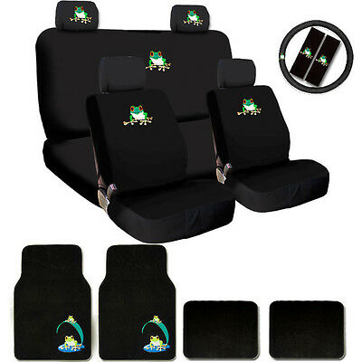 Deluxe Frog Car Seat Covers Steering Wheel Cover Headrest Covers Mats Gift Set