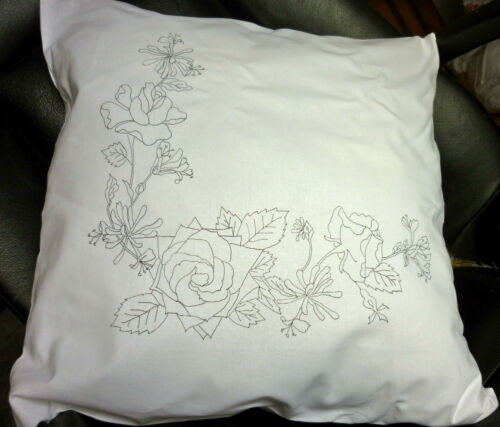 Cushion Cover Pillow Freestyle Embroidery printed  Honeysuckle flowers CSOO95