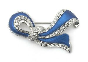 Elegant-Crystal-Stone-Brooch-Pin-Blue-Enamel-Silver-Plated-Valentines-Day-Gifts