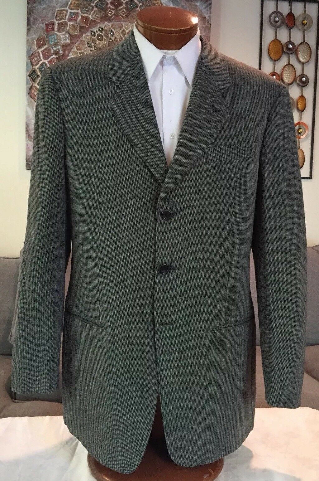 NEW Armani Collezioni  Herren 3 Btn grau Wool Blazer Sz 42 L XL