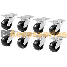 8 Pcs 2 Swivel Caster Wheels Hard Plastic Base With Top Plate Amp Bearing Set