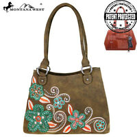 Montana West Concealed Carry Handbag Purse Floral Collection Coffee