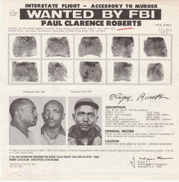 FBI WANTED POSTER-PAUL CLARENCE ROBERTS-INTERSTATE FLIGHT-ACCESSORY MURDER5-6-63