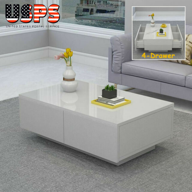 Modern Coffee Table MDF High Gloss Accent Tea Living Room Furniture Drawer  White