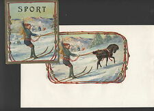 LA4260 SET OF 2 CIGARBOX LABELS SPORT WOMAN ON SKIIS PULLED BY HORSE