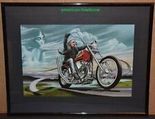 Dave David Mann FRAMED Biker Art Motorcycle Poster Easyriders Wind at My Back