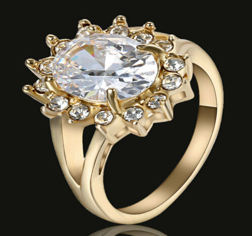 Women/'s White Sapphire Zircon Wedding Band Ring 10KT Yellow Gold Filled Taille 6