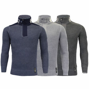 Mens-Knitted-Cotton-Crosshatch-Jumper-Sweater-Pullover-Waffle-Top-Zip-Winter-New