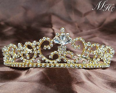 Trendy Rhinestone Gold Tiara Bridal Wedding Crown Prom Party Pageant Costumes