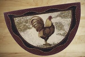Details about Kitchen Rug Burgundy Slice Country Rooster Throw Accent  Indoor Decor Floor Mat